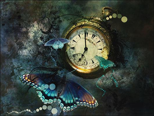Ilustración surrealista con mariposas y un reloj antiguo (Título: 'Wings of Time - One', Autor: 'Selenart')