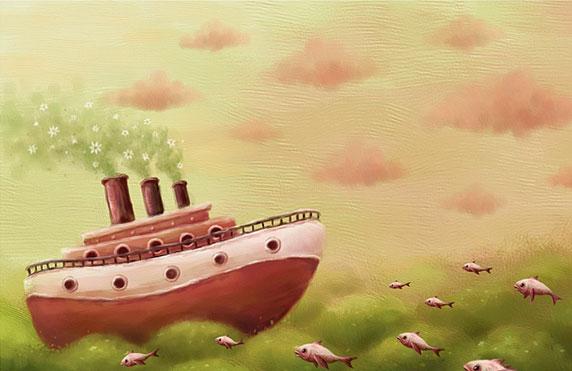 Disegno naif di una barca che attraversa l'oceano (Titolo: A sea..., Autore: Pete Revonkorpi)