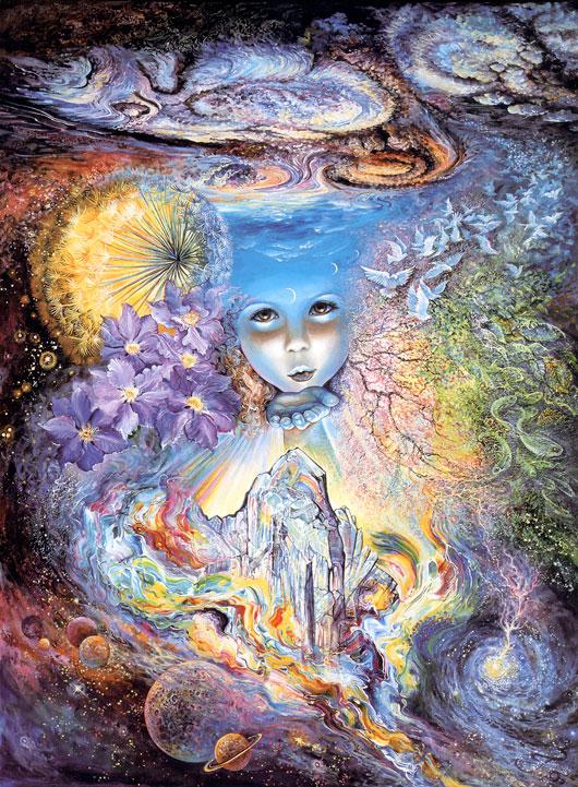 Illustrazione di una ragazza che invia un bacio attraverso il tempo e lo spazio (Titolo: Child of the Universe, Autore: Josephine Wall)